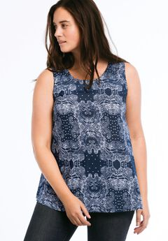 Sleeveless A-line Tank by ellos®, NAVY/WHITE PAISLEY PRINT, hi-res