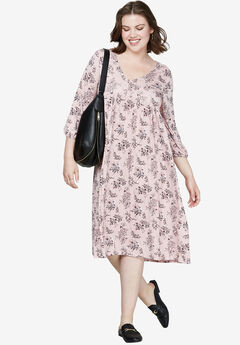 Floral A-Line Dress by ellos®, MAUVE BLUSH FLORAL PRINT