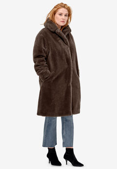 Long Faux Fur Coat by ellos®, CHOCOLATE