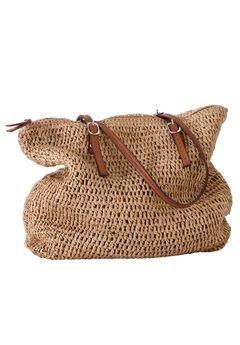 Zip Top Straw Bag by ellos®, NATURAL, hi-res