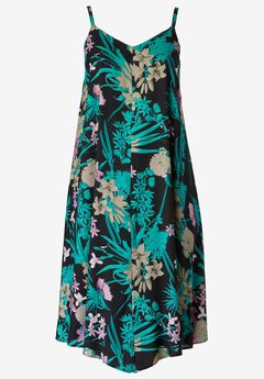 Bali Point Hem Dress by ellos®, BLACK FLORAL PRINT