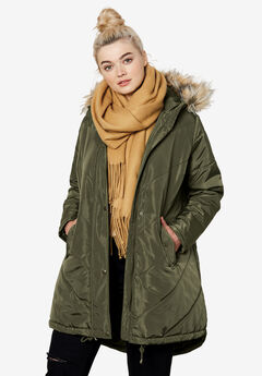 Faux Fur Hooded Parka by Ellos®, DARK OLIVE GREEN, hi-res