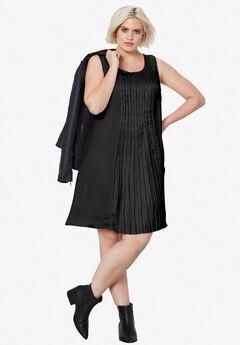Pleated Sleeveless Dress by ellos®, BLACK, hi-res