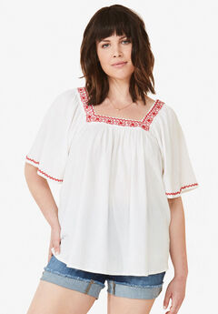 Embroidered Gauze Blouse by ellos®, WHITE, hi-res
