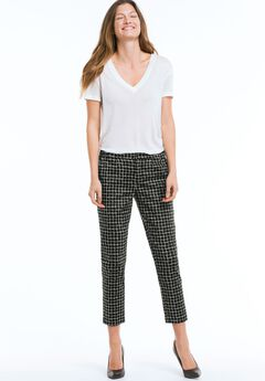 Printed Slim Ankle Pants by ellos®, BLACK WHITE PLAID, hi-res