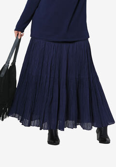 Tiered Crinkle Skirt by ellos®, NAVY, hi-res
