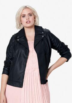 Faux Leather Moto Jacket by ellos®, BLACK, hi-res