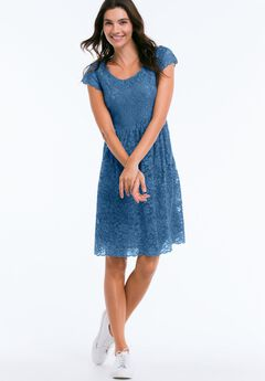 Tea Lace Dress by ellos®, ROYAL NAVY, hi-res