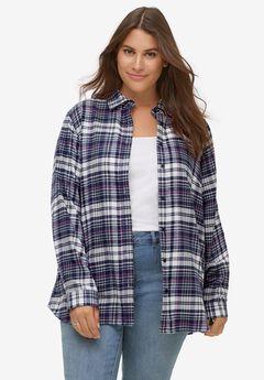 Plaid Flannel Shirt by ellos®, NAVY PLAID