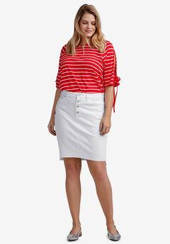 b2a620f3c48 Raw High-Low Hem Denim Skirt by ellos®