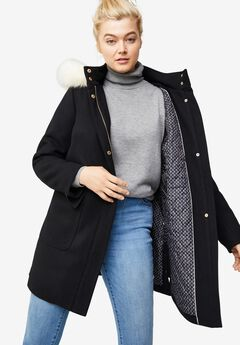 Side-Snap Wool Parka,