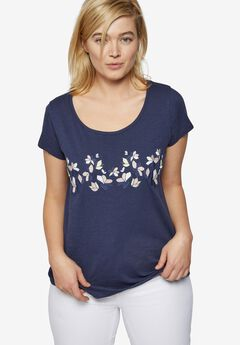 Embellished Scoop Neck Tee by ellos®,