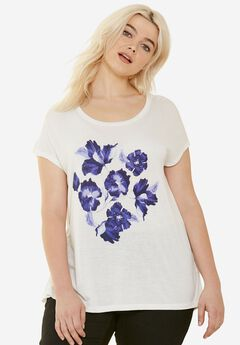 Drapey Cap Sleeve Tee by ellos®, WHITE BLUE FLORAL, hi-res