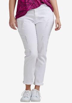 Boyfriend Jeans by ellos®, WHITE DISTRESSED