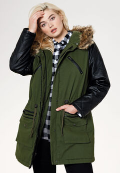 Quilted Faux Leather Sleeve Parka by ellos®, FOREST GREEN, hi-res