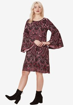 Dewdrop Ruffle Sleeve Dress by ellos®, BERRY PAISLEY PRINT, hi-res