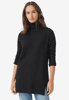 Ribbed Turtleneck Tunic Sweater,