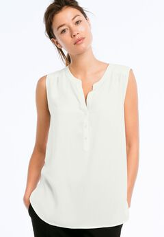 Sleeveless Henley Blouse by ellos®, IVORY, hi-res