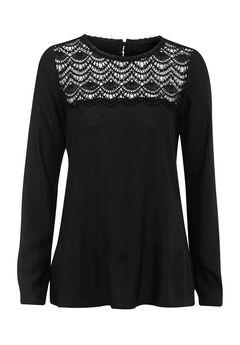 Crochet Yoke Blouse by Ellos®, BLACK, hi-res