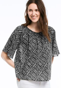 Off The Shoulder Trapeze Blouse by ellos®, BLACK WHITE PRINT, hi-res