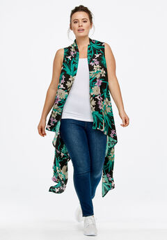 Printed Open Front Duster Vest by Ellos®, BLACK FLORAL, hi-res