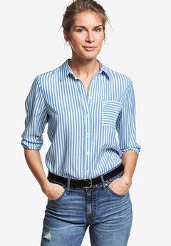 Striped Button-Front Tunic by ellos®, CORNFLOWER BLUE STRIPE, hi-res