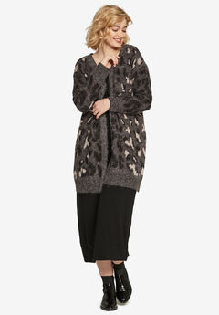Animal Print Jacquard Cardigan,