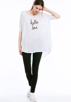 Screen Print Hi-Low Tunic by Ellos®, WHITE, hi-res