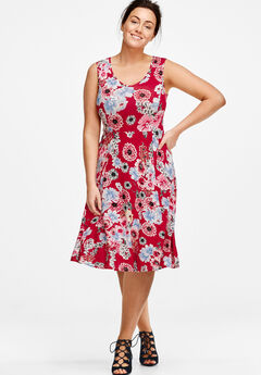 Sleeveless Fit and Flare Knit Dress by ellos®, RED FLORAL