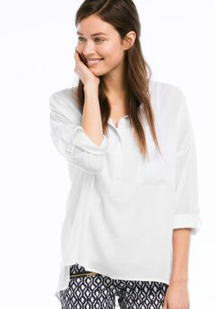 Popover Henley Tunic by Ellos®, WHITE, hi-res