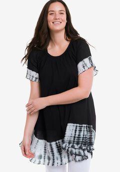 Tie-Dye Gauze Tunic by ellos®, BLACK WHITE TIE DYE, hi-res