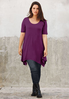 Scoop Neck Hanky Hem Tunic by ellos®, BOYSENBERRY, hi-res