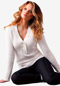Button Y-neck Sweater,