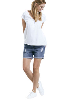 Distressed Denim Girlfriend Shorts by Ellos®, MEDIUM SANDED DISTRESSED, hi-res