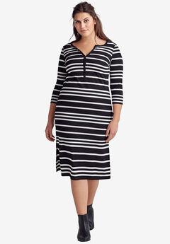 Rib Knit Henley Dress by Ellos®, BLACK WHITE STRIPE, hi-res