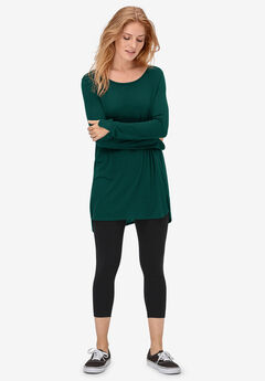 Slit Hem High Low Tunic by ellos®, EMERALD GREEN