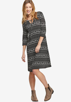 Keyhole Neck A-Line Dress by ellos®, BLACK PAISLEY PRINT, hi-res
