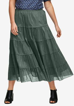 Crinkled Tiered Skirt by ellos®, PINE, hi-res