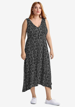 Fit & Flare V-Neck Dress by ellos®, BLACK WHITE DOT