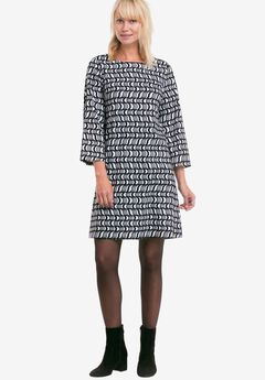 Printed Bell Sleeve A-Line Dress by ellos®, BLACK WHITE PRINT, hi-res