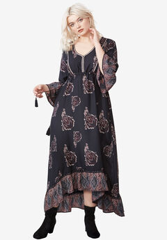 Flora A-Line Maxi Dress by Ellos®, MIDNIGHT GREY PRINT, hi-res