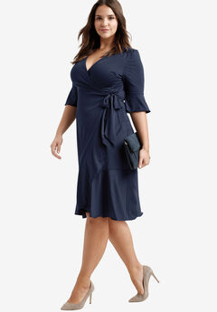 Ruffle Wrap Dress by ellos®, NAVY, hi-res