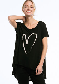 High/Low Cap Sleeve Tunic by ellos®, BLACK WITH HEART, hi-res