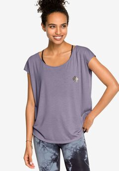 Relaxed Graphic Tee by ellos®, DARK LAVENDER SCREEN PRINT, hi-res