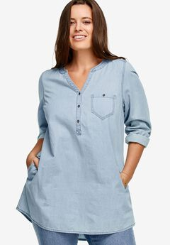 Popover Denim Henley Tunic by ellos®,