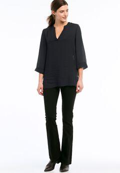 Oversized V-neck Sheer Blouse by ellos®, BLACK, hi-res