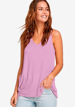 Lace-Up Back Tunic Tank by ellos®, PEONY PINK