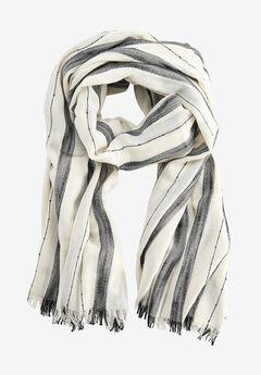 Lightweight Striped Scarf by ellos®, WHITE BLACK STRIPE, hi-res