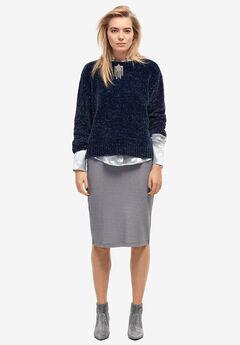 Glitter Rib-Knit Skirt by ellos®,