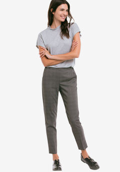 Slim Back Elastic Cropped Pants by Ellos®, GREY BLACK PLAID, hi-res